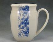 14 Ounce Blue and White Porcelain Mug Coffee Mug Pottery Coffee Mug Hand Thrown Ceramic Mug Pottery Mug Unique Mug 3