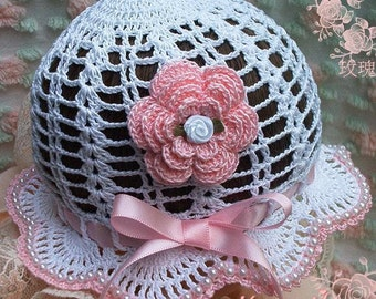 Crochet Pattern Baby Bonnet with Beads