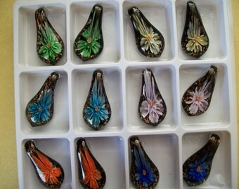 US Shipper - Inner Flower Lampwork Pendants - Teardrop or Leaf Shape
