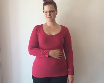 Bamboo Long Sleeve Shirt With Ruching, Rouge