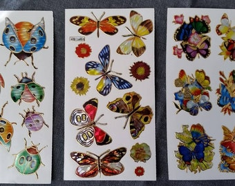 3 Sheets of Vintage Prism Insect Butterfly Ladybug Stickers