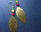 Gold Brass Leaf Trade Bead Earrings