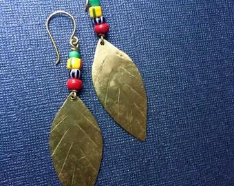 Gold Brass Leaf Trade Bead Earrings