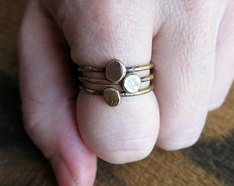 Antiqued Mixed Metal Pebble Rings - Your Custom Size