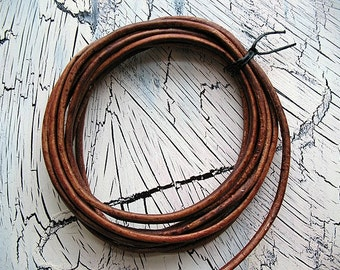 Round Leather Cord in Antique Brown - 2mm - 5 feet