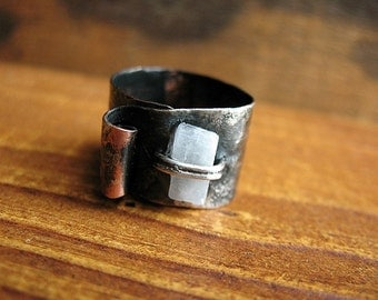 Blackened Fused Silver and Copper Wrap Ring with Selenite Shard - size 7 to 9