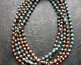 30 inch Antiqued Copper and Blue Patina Ball Chain Necklace