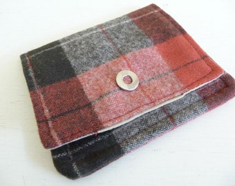 Red and Brown Plaid Wool Wallet with 2 pockets