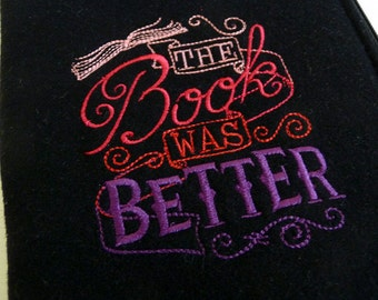 The Book Was Better Padded Kindle Sleeve in Black Wool fits NEW Kindle, 4th and 5th generation, Voyage and Kobo Touch