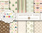 40% off TRIBAL, geometric, digital scrapbook paper in earth tones, brown, green, hand drawn Instant Download MOUNTAIN TOPS