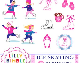 ICE SKATING clipart and digital paper, skates, girls birthday party, skaters, mittens, figure skating parties, Instant Download
