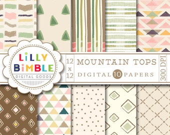 40% off TRIBAL, geometric, digital scrapbook paper in earth tones, brown, green, hand drawn, Instant Download, MOUNTAIN TOPS