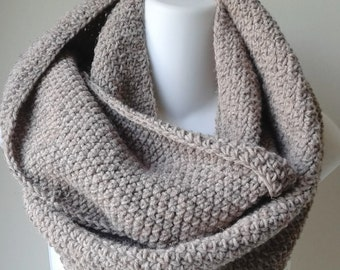 Light Brown Taupe Infinity Scarf Wool Blend Loop Men Women CHELSEA Ready to Ship - Autumn Fall Winter Fashion