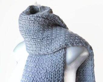 Chunky Hand Knit Scarf Pale Grey Rib Knit Scarf Men Women Unisex CLARKE Ready to Ship - Fall, Autumn, Winter Fashion