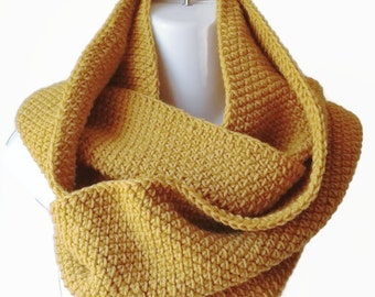 Yellow Circle Scarf Gold Infinity Scarf Wool Blend Loop Men Women CHELSEA Ready to Ship - Autumn Fall Winter Fashion