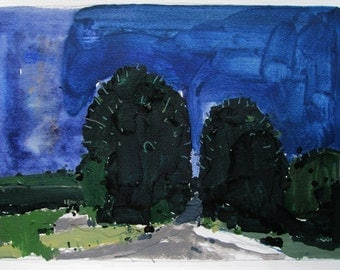 Nightfall, Summer End, Original Acrylic Landscape Painting on Paper, Stooshinoff