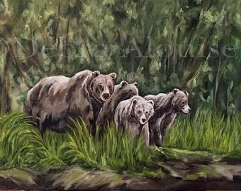 Alaska Grizzly Bear Landscape Original Oil Painting Large Family Bears by California Artist Debra Alouise