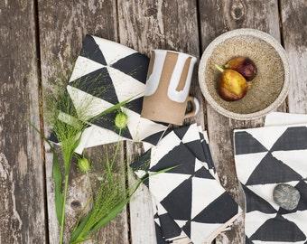 SEONDS SALE  Winter Triangles,  Cloth Napkins, Set of 4, Hand Printed