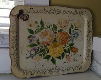 Shabby Chic Floral Tray // Metal Tin // Magnet Board