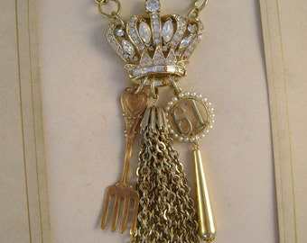 Queenie - Vintage Rhinestone Crown Brooch Tassel Fork Sixty One Charm Goldtone Chains Recycled Repurposed Jewelry Necklace