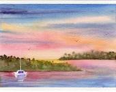 Original watercolor painting GREETING card SFA boat sunset sunrise