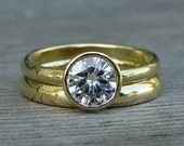 Moissanite and Recycled 18k Yellow Gold Wedding Ring Set - Engagement & Band - Forever Brilliant Moissanite  - Eco Friendly, Made to Order