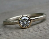 Moissanite Engagement Ring - Recycled 14k Yellow and White Gold, Ethical, Eco-Friendly, Rustic Hand Textured Matte Band, Made to Order