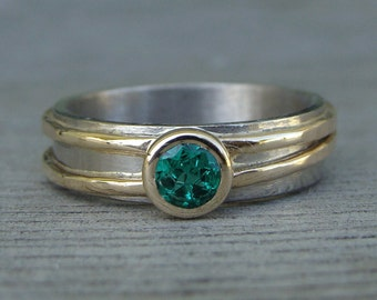 Emerald Engagement/Wedding Ring - Chatham Lab-Created Emerald with Recycled 14k Yellow Gold and 18k Palladium White Gold, Made to Order