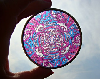 Flurry Mandala Travel Tin - Bohemian Stash Box With Transparent Geometric Suncatcher Lid in Blue Pink Purple - Pillbox - Party Favor