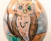 """Hand-Painted Gourd Christmas Ornament by Artist Sandy Short """"Great Horned Owl"""""""