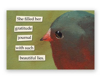 Gratitude Journal Magnet - Bird - Humor - Gift - Stocking Stuffer - Mincing Mockingbird