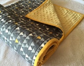 ON SALE ****Grey and Yellow Triangles modern quilted minky baby blanket