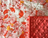 Meadow Blooms quilted minky baby blanket