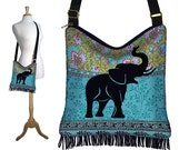 Elephant Hippie Bag Fringe Boho Bag Hobo Purse Handbag Cross Body Shoulder Bag Paisley blue green black MTO
