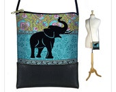 Elephant Small Cross Body Purse, Hipster Shoulder Bag, Mini Crossbody Bag fits iPhone 6 Plus, hippie floral paisley, blue green RTS