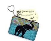 Elephant Business Card Holder Fabric Pouch Key Fob Small Zipper Bag Coin Purse Key Chain Hippie Paisley Fabric, blue green black RTS