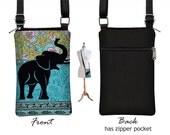Fabric iPhone 6 / Plus Case Sling Bag Elephant Cell Phone Purse Small Cross Body Bag, Boho Hippie Paisley , Zipper Pocket, blue, green RTS