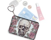 Small Zipper Pouch Skulls & Roses Coin Purse Keychain Key Fob Steampunk Business Card Holder Purse Organizer fabric blue red pink black RTS