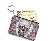 Skulls & Roses  Business Card Holder Fabric Pouch Key Fob Small Zipper Bag Coin Purse Key Chain Steampunk Goth red blue pink black RTS