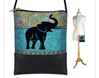 Elephant Small Cross Body Purse, Hipster Shoulder Bag, Mini Crossbody Bag fits iPhone 6 Plus, hippie floral paisley, blue green MTO