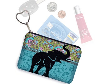 Elephant Small Zipper Pouch Coin Purse Keychain Key Fob Business Card Holder Purse Organizer Hippie Paisley Fabric blue green black RTS