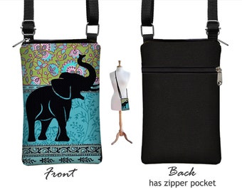 Fabric iPhone 6 / Plus Case Sling Bag Elephant Cell Phone Purse Small Cross Body Bag, Boho Hippie Paisley , Zipper Pocket, blue, green RTS