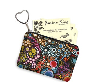Cute Colorful Business Card Holder Fabric Pouch Key Fob Small Zipper Bag Coin Purse Key Chain  dots bubbles jewel tone colors MTO