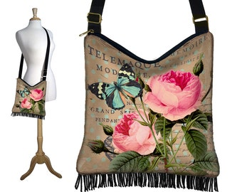 Cottage Chic Rose Crossbody Hobo Bag, Floral Sling Bag Hippie Fringe Purse, Slouch Bag, Butterfly, Paris Post Card, Victorian, zipper  RTS