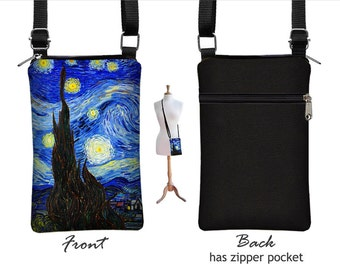 Starry Night Cell Phone Case for iPhone 7 / Plus, Fabric Smartphone Phone Purse, Small Cross Body Bag, Vincent Van Gogh,  blue, yellow  RTS