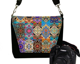 Women's Dslr Camera Bag Purse for Nikon Canon Sony  Messenger Style Camera Case, Bohemian Persian Patchwork Jewel Tones Boho colorful RTS
