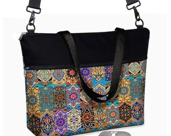17 inch Laptop Bag avail w/ long cross body strap / Boho Laptop Tote Bag / Women's Briefcase / Pockets,  Zipper, Asian, colorful   MTO
