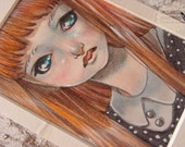 Girl with red hair - ORIGINAL Pastel and Pencils  Illustration