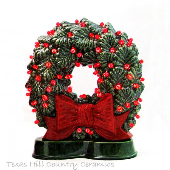Old Fashioned Ceramic Christmas Wreath Big Red Bow Red Or