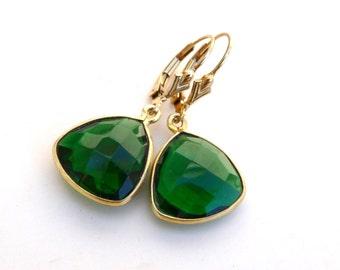 Emerald 14K Yellow Gold Bezel Faceted Teardrop Dangle Earrings, Bridesmaids, May Birthstone